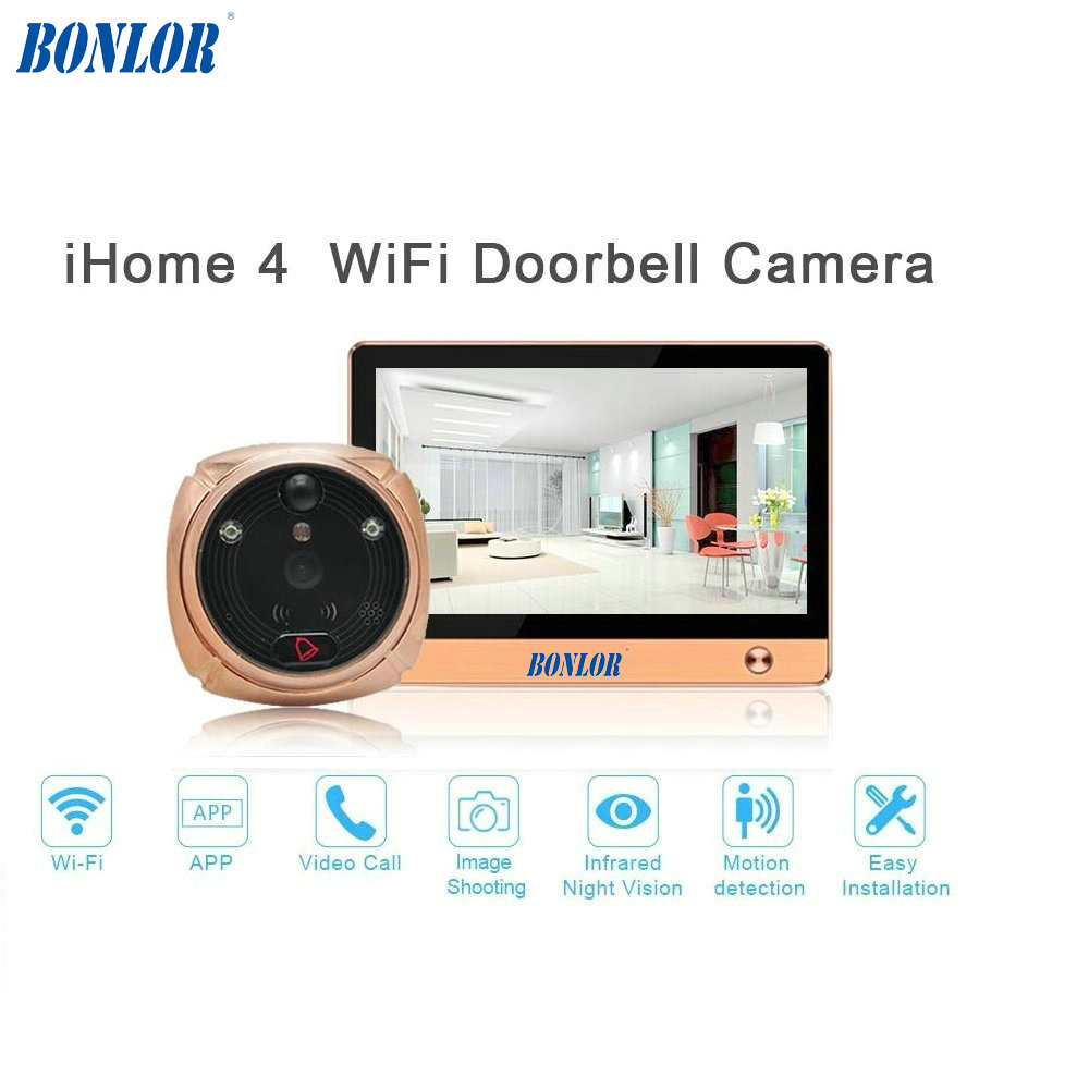 BONLOR(1 Set) The Newest Wifi/Wireless Peephole Doorbell With Camera Door Viewer 7'' LCD Display+Movement Detect+IR Night Vision