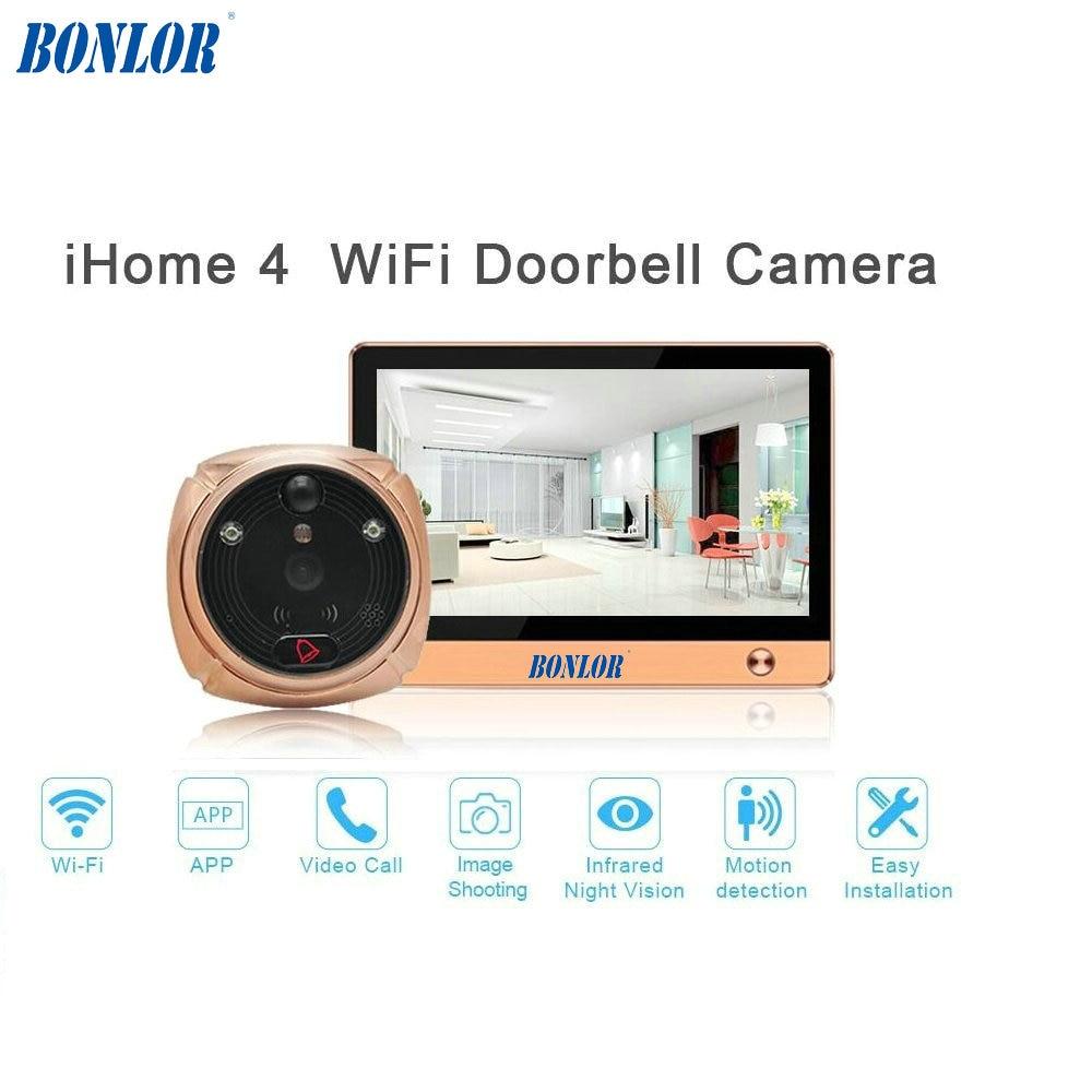 BONLOR(1 Set) The Newest Wifi/Wireless Peephole Doorbell with Camera Door Viewer 7'' LCD Display+Movement Detect+IR Night Vision