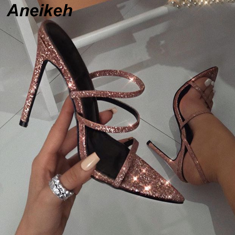Aneikeh 2019 New Summer Pink Elastic Band Sandals Party Sexy Stiletto Heels Shallow Mouth Pointed Thin Straps Open Toe Sandals
