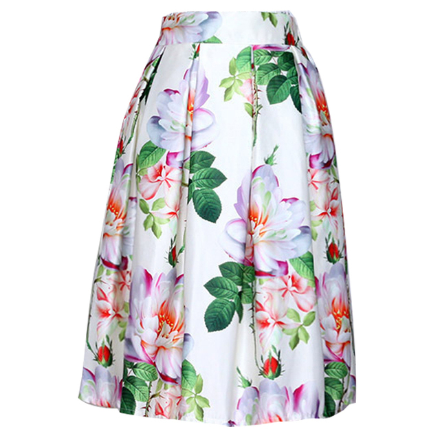 1f86a0259 2016 Spring 3D Printed Midi Skirts Vintage Stretch Waist Floral Print High  Waist Ball Gown Pleated