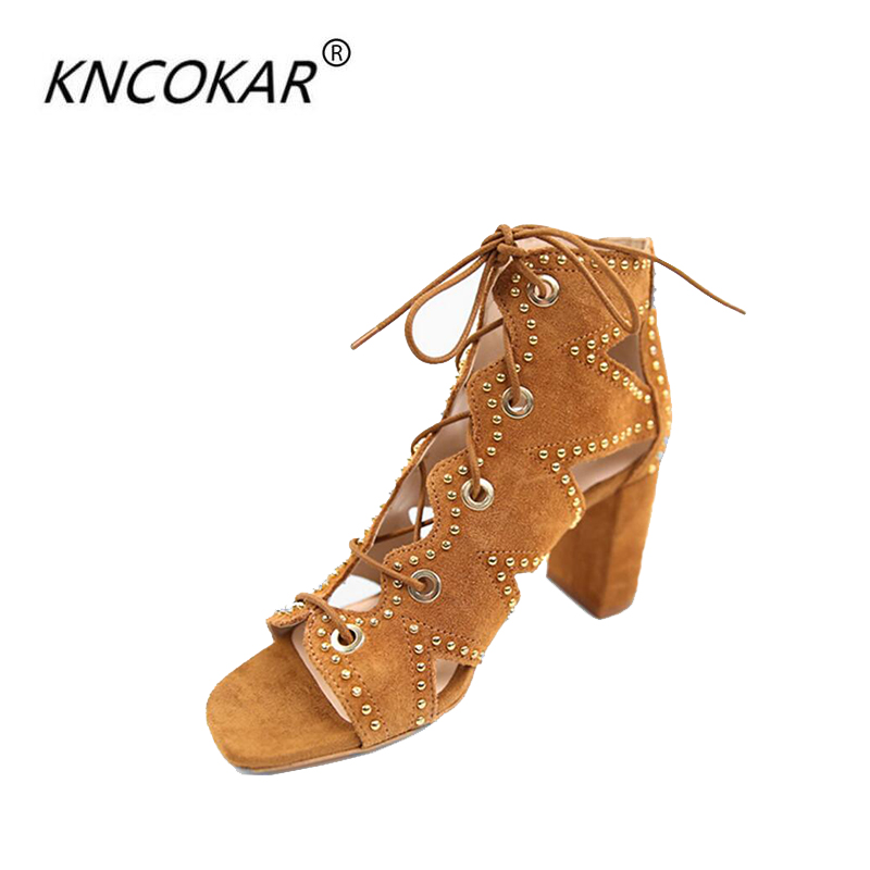KNCOKAR2018 The new summer high-heeled sandal sandals are hollowed-out open-toe Roman sandals with strappy sandals rockstud toe post strappy pu sandals