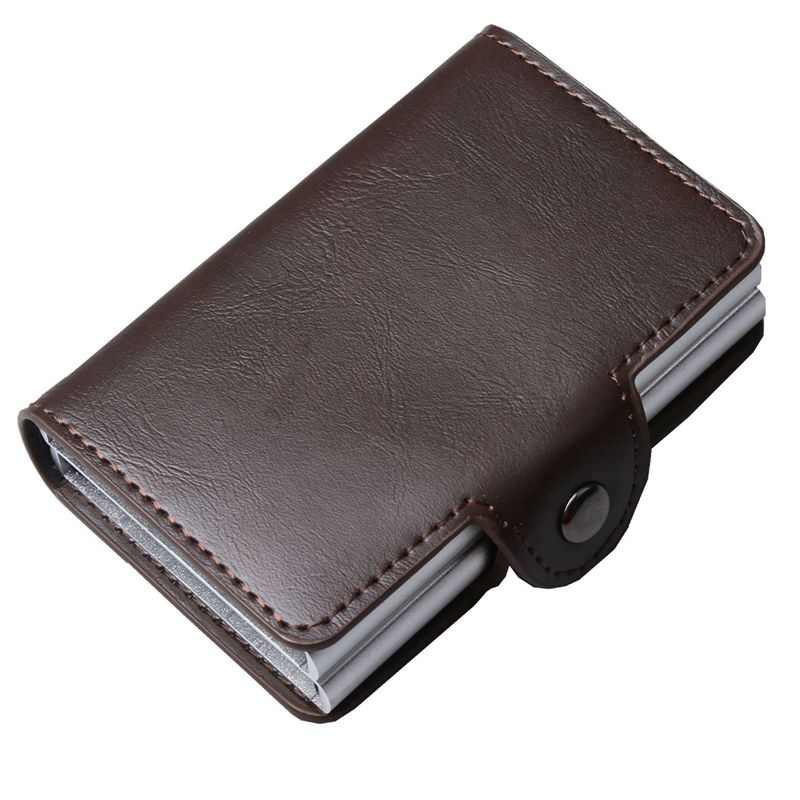 Men double Aluminum Leather Credit Card Holder RFID Metal Wallet Automatic pop up Anti-theft women Purse Business ID Cardholder