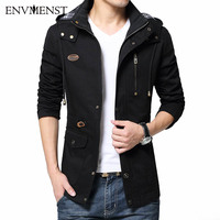 Envmenst 2017 Autumn Men Cotton Windbreaker Overcoat Khaki PLus size 5XL british style Slim fit Hooded trench coat long men