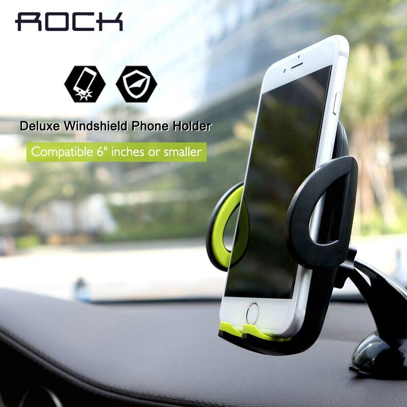 imágenes para ROCA Deluxe Parabrisas Soporte Para Coche Para el iphone Samsung Teléfono S8 Soporte 360 Grados de Rotación Ajustable para 4-6 pulgadas Teléfono móvil