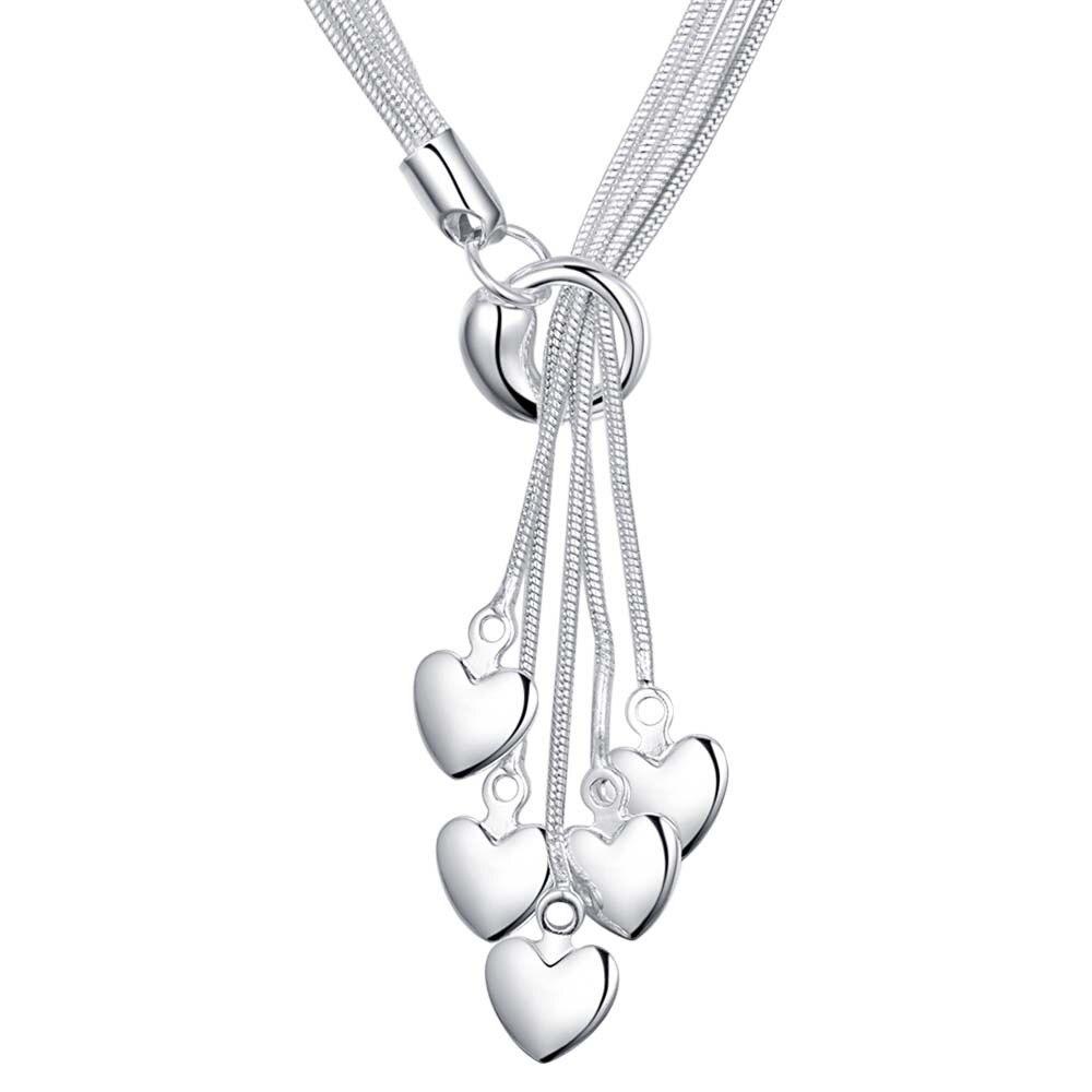 Bescheiden Mode Frauen Vintage Lange Halskette Schmuck Silber Einfache Herz Anhänger Halsketten 925 Silber Schmuck Anhänger An438 Fabriken Und Minen