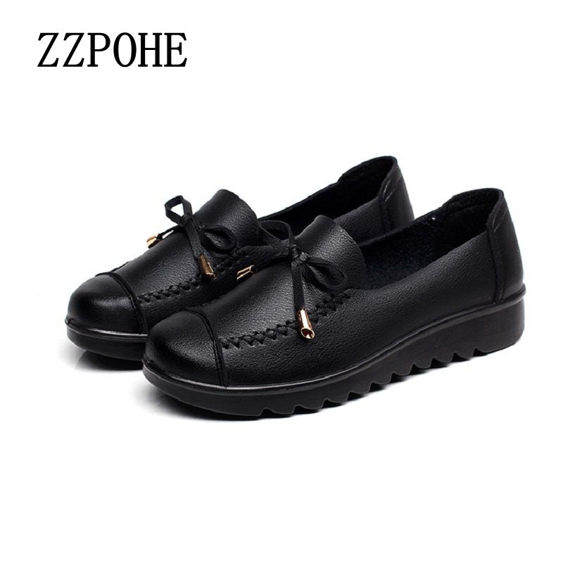 2017 spring new mother shoes soft bottom with middle-aged single shoes non-slip comfortable grandmother black shoes 35 40 41 zzpohe women shoes spring soft soled mother black single shoes leather non slip casual comfortable middle aged ladies flat shoes