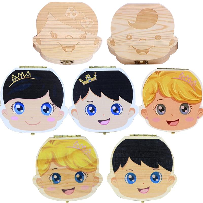 Baby Wood Tooth Box Organizer Spanish English Russian Teeth Storage Collect For Boys Girls Umbilical Save Keepsake Souvenir(China)