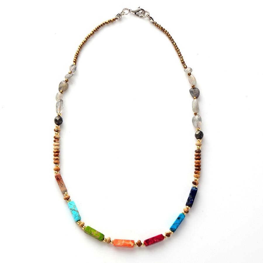 Chakra Necklace Natural Stone Labradorite Choker Necklace Women  New Fashion Bead Chain Necklaces Ожерелье
