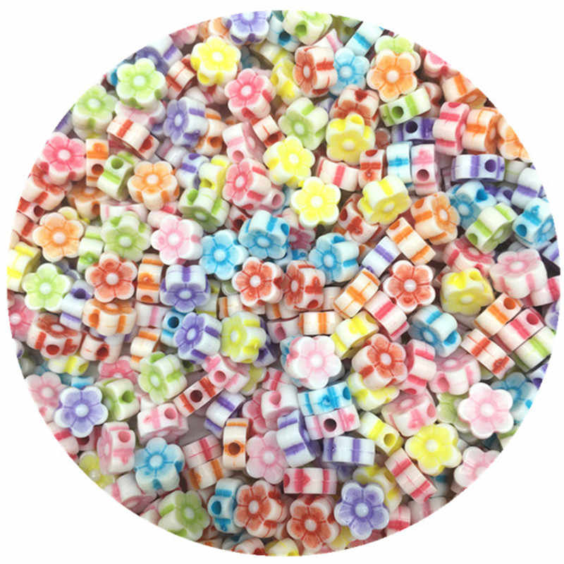 100pcs/Lot 8*4mm New Cheap Colorful Flowers Shape Acrylic Bead Fit For DIY Bracelet Jewelry Making Wholesale Random Send Goods