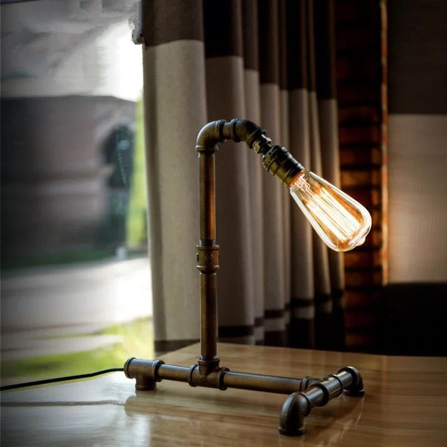 Vintage Water PIpe Lightings Retro Industrial Desk Lamps Steel Pipe Table  Lamp E27 Base Holder For