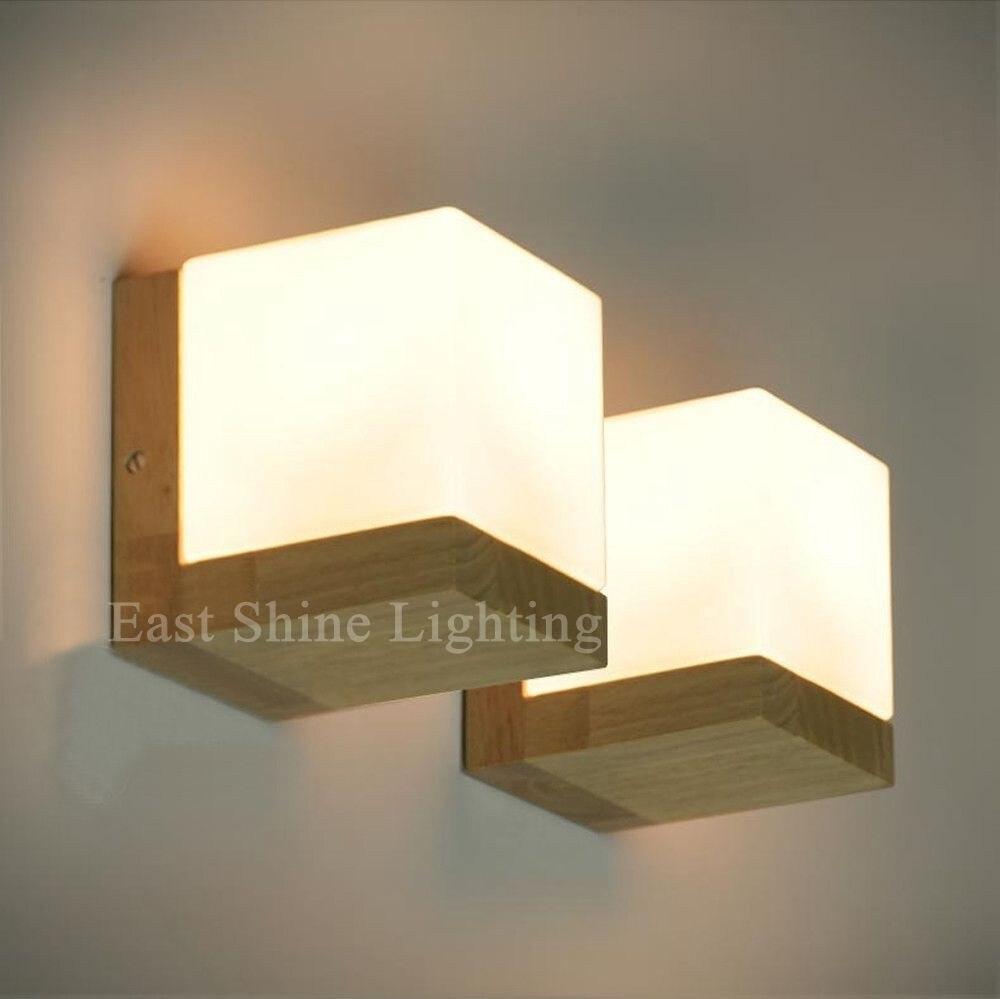 moderne chêne bois cube sucre ombre mur lampe chambre mur de verre
