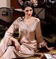 Горячая распродажа женский весна и осень королевский пижамы 100% с длинными рукавами чистого шелка два комплекта ночные сорочки сексуальное благородный nightgowns-b27