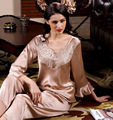 hot sale female spring and autumn royal sleepwear 100% long-sleeve pure silk two sets of nightgowns sexy noble nightgowns-b27