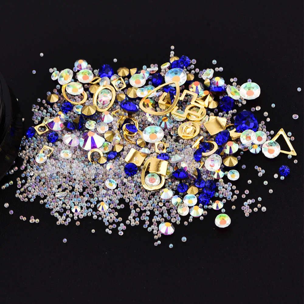 ผสมพลอยเทียมไมโครคริสตัลลูกปัดด้านล่างแหวนทอง 3D เล็บตกแต่งเล็บมือเล็บศิลปะการตกแต่งสำหรับ DIY เล็บ