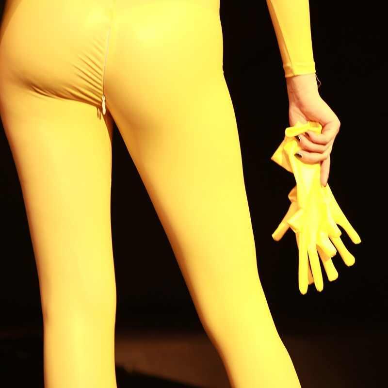Lateks Bodysuit Tinggi Elastis Lengan Panjang Jumpsuit Wanita Turtleneck Membentuk Bodyusit Terbuka Selangkangan Romper Pantyhose dengan Sarung Masker