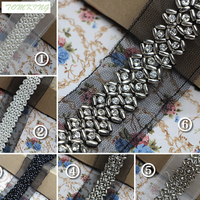 Black And White Silver Pearl Laciness A Handmade Beading Accessories Laciness Diy Clothes Decoration