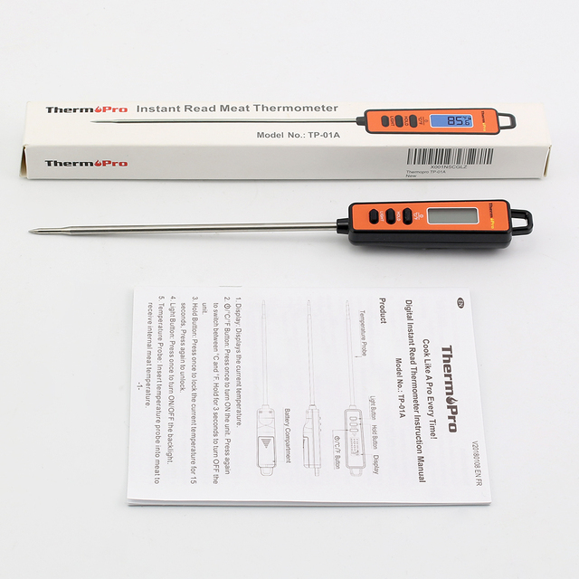 ThermoPro TP-01A Digital Kitchen Thermometer for Meat Cooking BBQ Milk Water Oven Thermometer Probe with Backlit Screen