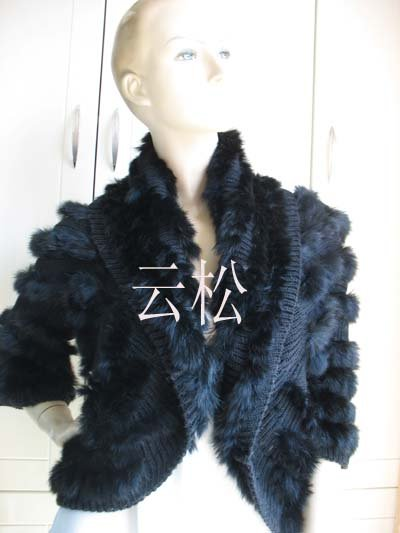 free shipping 2014 wholesale real rabbit knitted rabbit fur vest jacket coat outwear BLACK