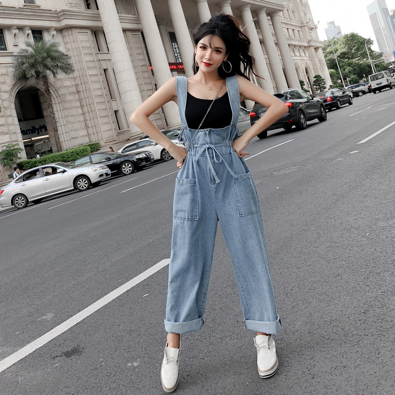 2019 autumn female denim overalls women loose drawstring waist ankle length wide legged pants lady casual