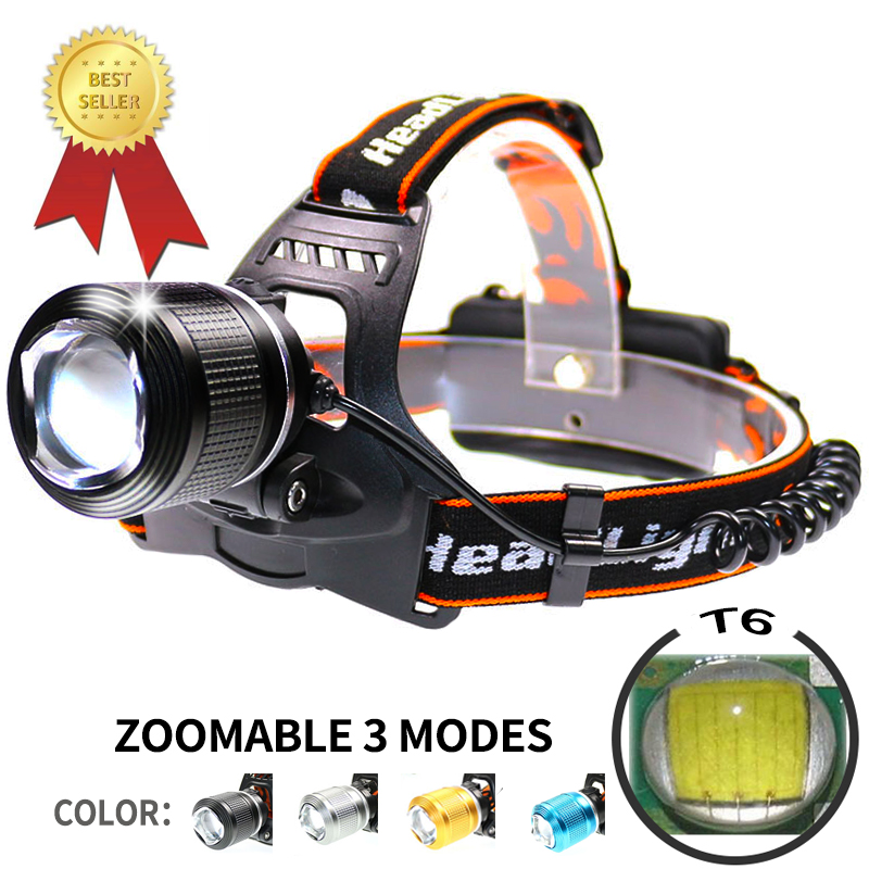 5000 Lm 3 Led Camping Waterproof Fishing Headlamp 4 Color Rechargeable 2*18650 Powerful Headlight Led Headlamp LED Motorcycle