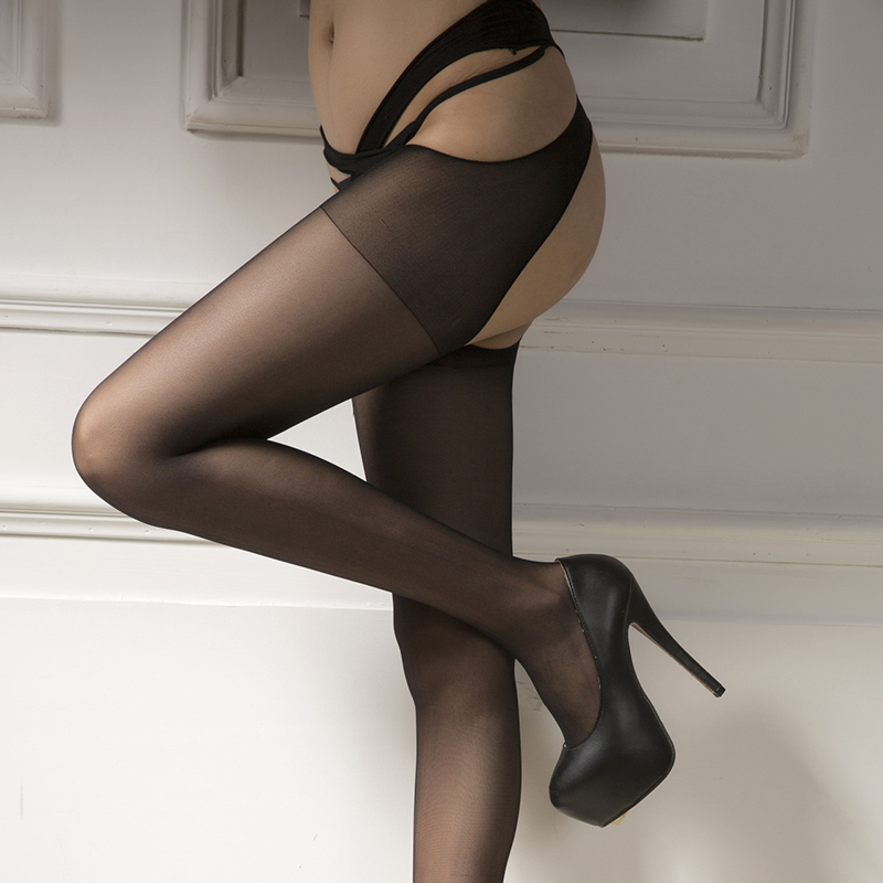 Sexy Pantyhose Open Crotch Sexy Lingerie Hot See Through Thigh High Stockings Female Nylon Stockings Sexy Lady Tights W8266