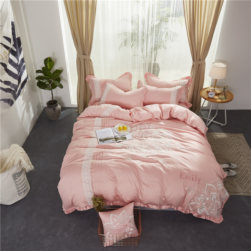 Pink Luxury Princess White Embroidered Egyptian cotton Bedding set Queen King Size Duvet Cover Bed Linen Bed sheet Pillowcases