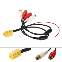 KKmoon 6 Pin ISO Adapter Aux Line Out 4 Chinch Kabel 4 RCA Plug for VW Seat Skoda 1 VDO Audi Ford