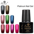 Saviland 1pcs Shining 3D Glitter Platinum UV LED Gel Lacquer Fingernails Gel Nail Polish Top Base Primer Gel Varnish
