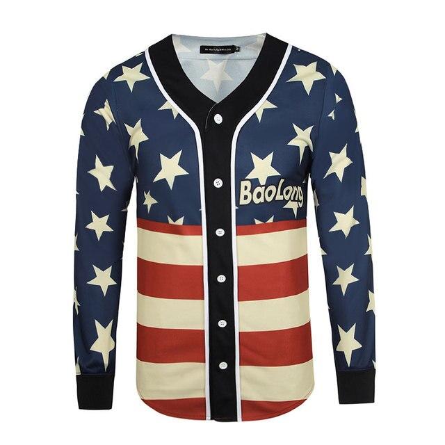 Высокое Качество Kanye West Хип-Хоп Рэп Рубашки Зима/Весна Мужские американский Флаг Печатных V-образным Вырезом Polo Рубашка Мужчины С Длинными Рукавами Тройник рубашки