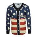High Quality Kanye West Hip Hop Rap Shirt Winter/Spring Mens American Flag Printed V-Neck Polo Shirt Men Long Sleeves Tee Shirts