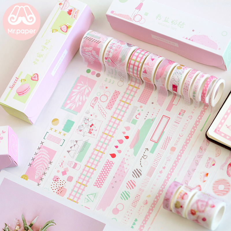 Mr Paper 10pcs/box 8 Designs Pink Cherry Blossom Flamingo Bullet Journaling Washi Tape Scrapbooking Masking Tapes Children Gifts