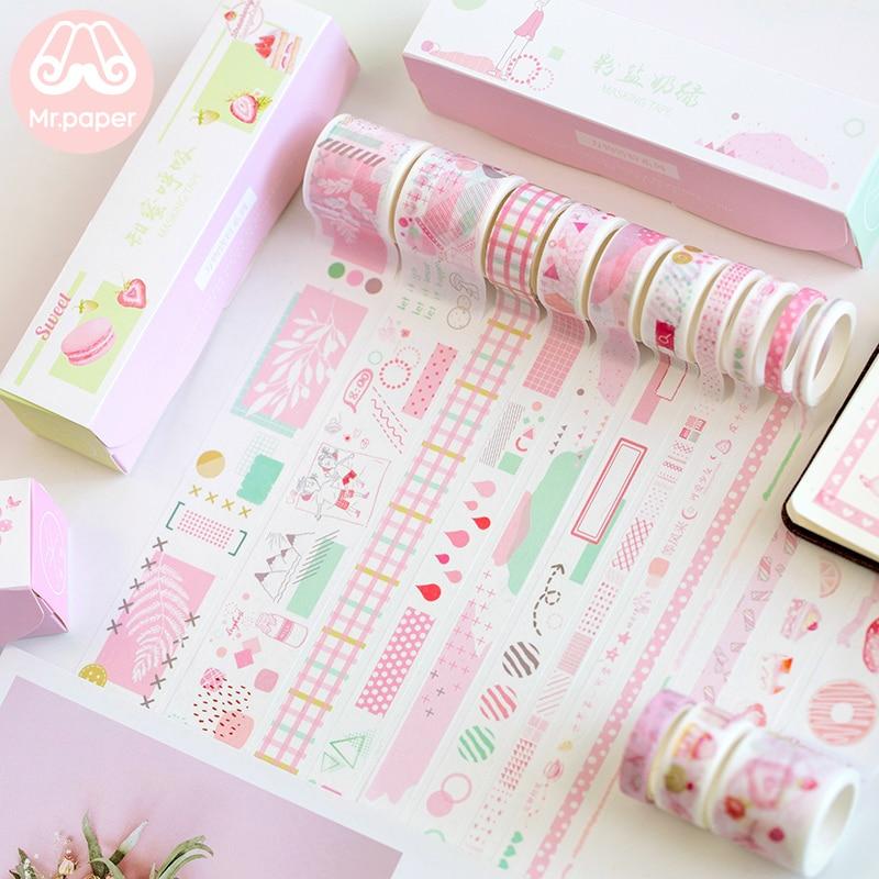 Mr Paper 10pcs/box 8 Designs Pink Cherry Blossom Flamingo Bullet Journaling Washi Tape Scrapbooking Masking Tapes Children Gifts