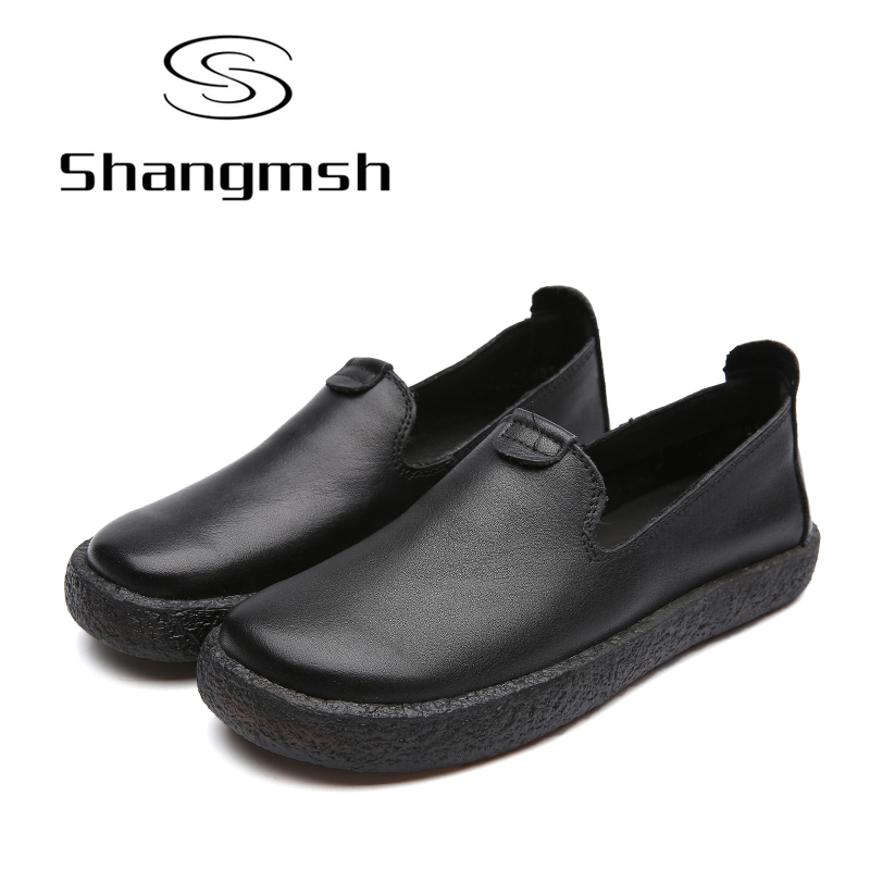 Shangmsh Shoes for Women Genuine Leather Summer Women's Shoes Pure Black Soft Ladies Flat Shoes Female Moccasins Flats Loafers original handmade autumn women genuine leather shoes cowhide loafers real skin shoes folk style ladies flat shoes for mom sapato