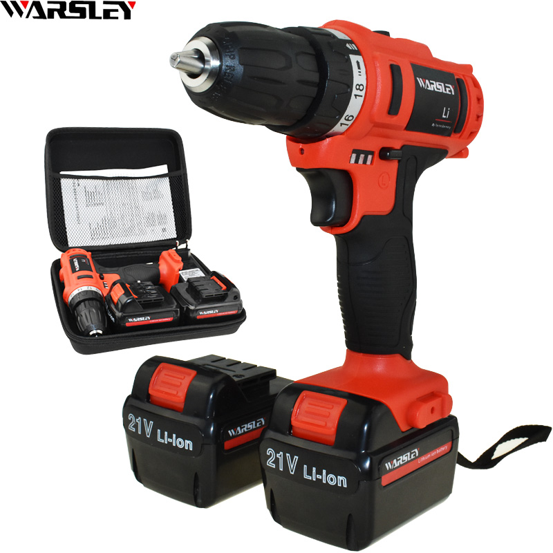 21v Power Tools Eu plug Cordless Drill Electric Drill Battery Drill Screwdriver Electric Screwdriver Mini Electric Drilling free shipping brand proskit upt 32007d frequency modulated electric screwdriver 2 electric screwdriver bit 900 1300rpm tools