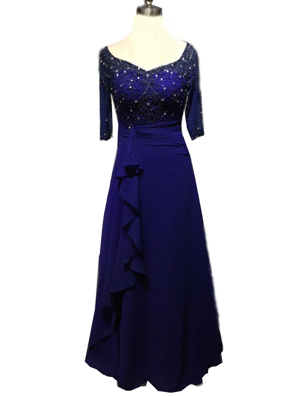 Mousseline de soie bleu Royal perlé chérie demi manches falbala hanche-jupe enveloppée d'une ligne Simple Sexy pli cristaux Swarovski