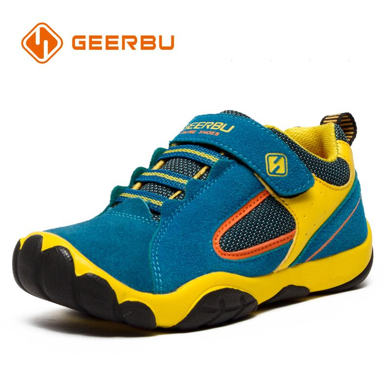 GEERBU Children Outdoor Shoes Light weight Leather Girls Boys sport Sneakers Kids Wear resisting anticollision Casual