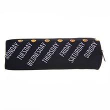 Black Emoji 3D Printing 2016 Fashion trousse de maquillage women makeup bag black  pencil case for student  trousse de toilette