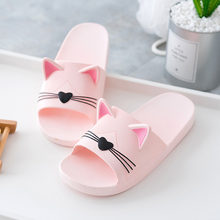 Men Women Home Slippers with the cartoon cat home 2019 slipper shoes non-slip slippers beach shoes parent-child shoe big Size 41(China)