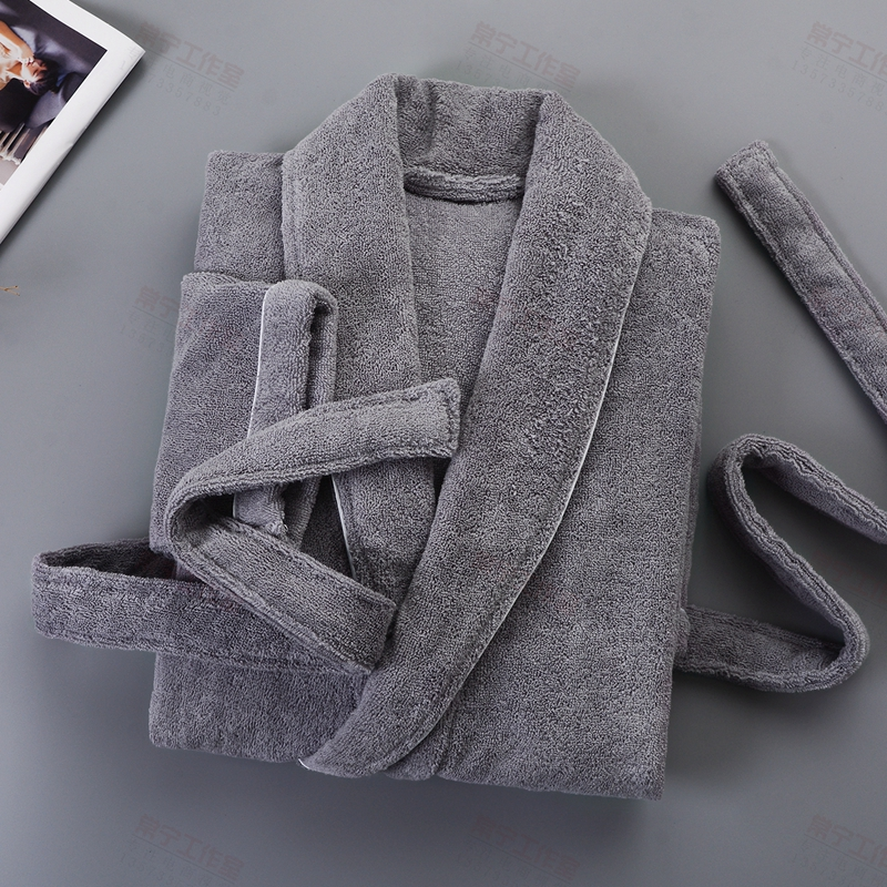 Thicken Bath Towel Fleece Winter Casual Long Warm Bathrobes Men Sleepwear Gift