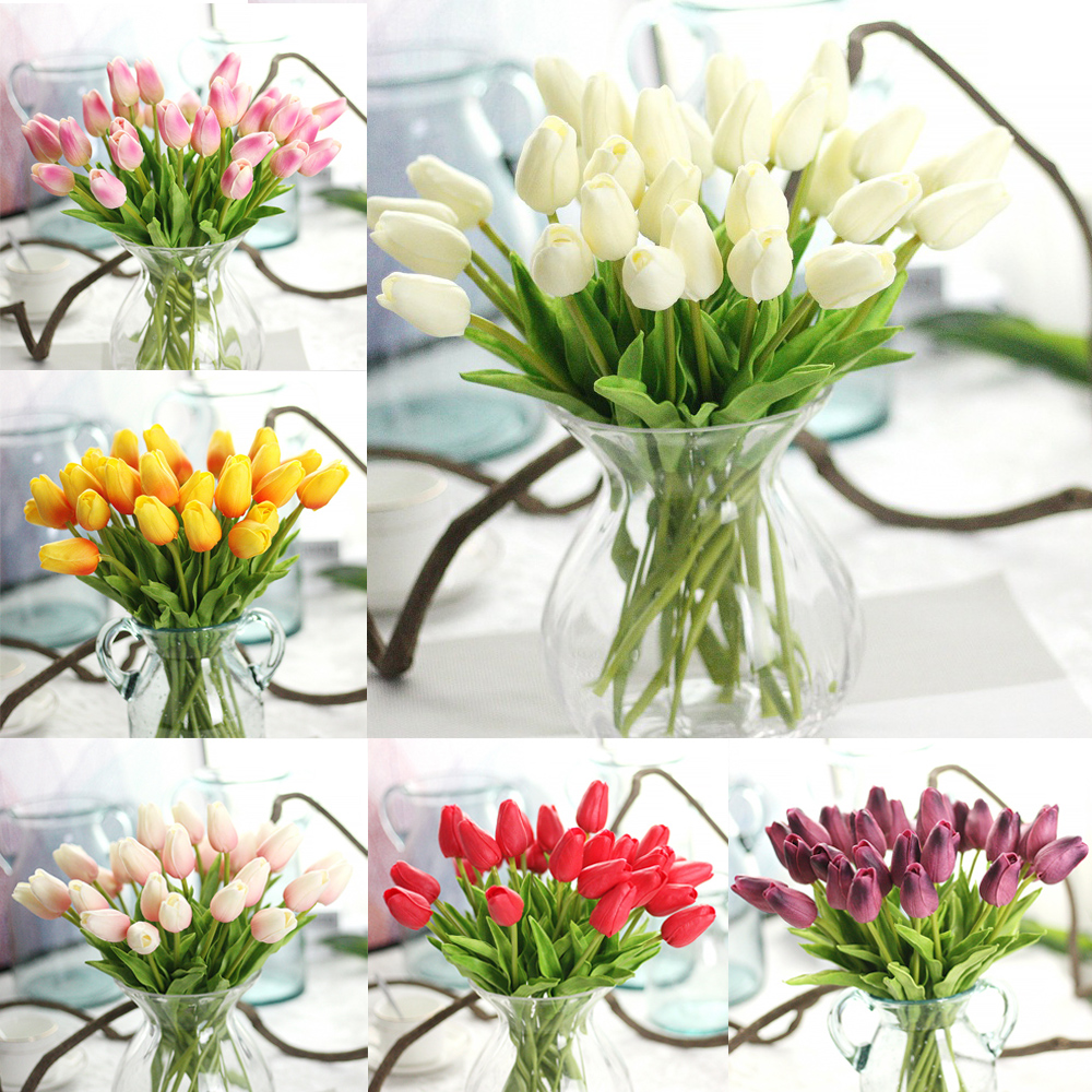 Fake flowers for crafts - 15pcs Lot Real Touch Tulip Flower Artificial Fake Flowers Silk Petals For Wedding Valentines Day