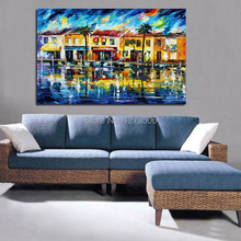 100%Handpainted Little Town Beauty Knife Oil Painting On Canvas Thick Oil Painting Wall Picture For Home Decor As Best Gift
