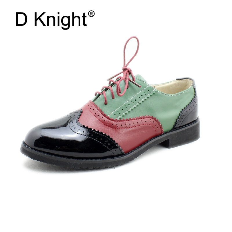 Plus Size 32-45 Brogue Shoes Women Genuine Full Grain Leather Round Toe Lace-Up 2018 Fashion Handmade Lady Flats Wingtip Oxfords plus size 32 45 brogue shoes women genuine full grain leather round toe lace up 2018 fashion handmade lady flats wingtip oxfords