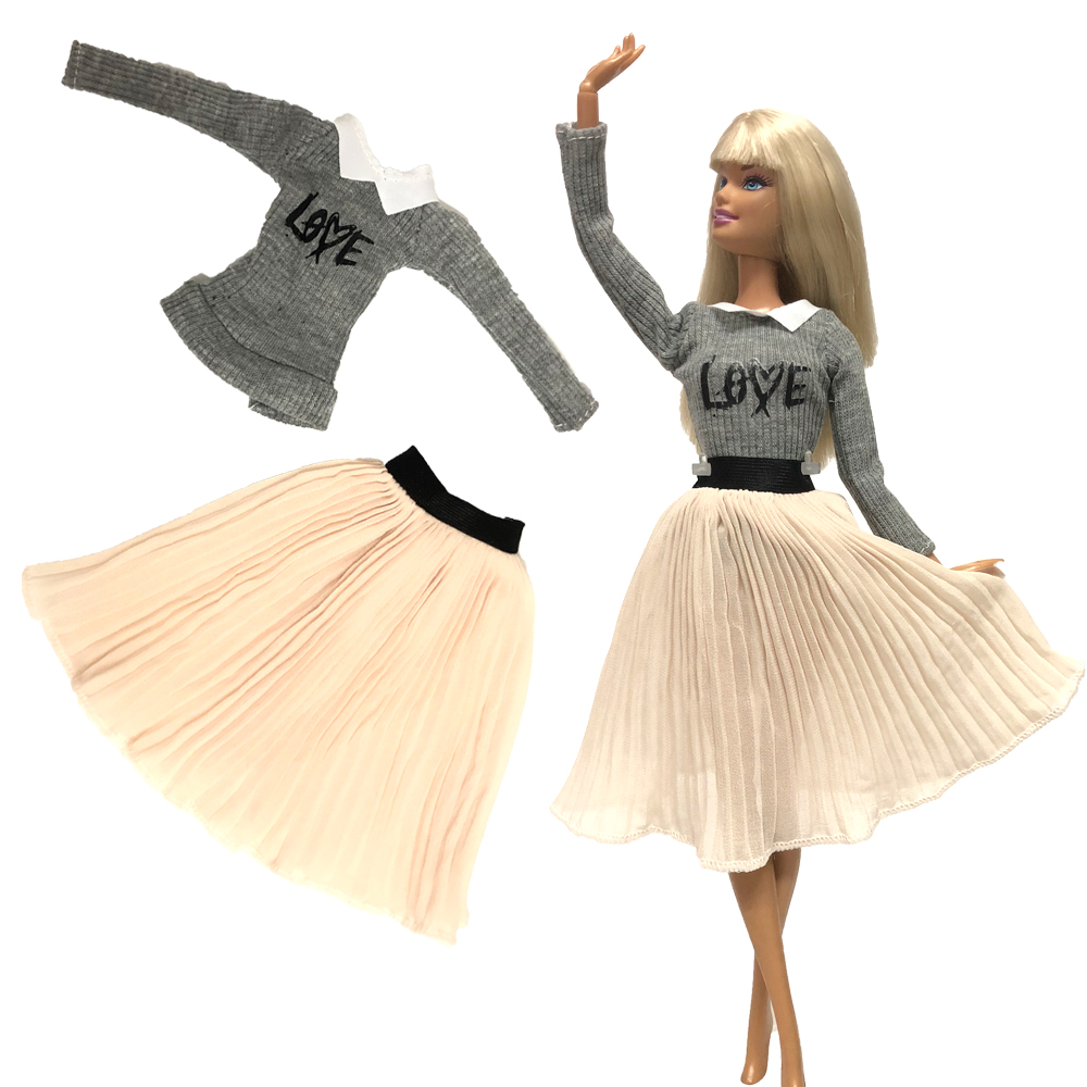 NK 1x Doll Dress For Barbie Doll Accessories Long Sleeves Knitwear Blouse Shirt Pleated Ballet  Skirt Clothes Baby Toy 004A 2X