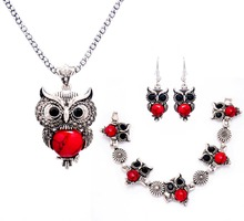 Retro Silver Color Simulated Stone Pendants Owl Shape Necklace/Earrings/Bracelet Wedding Accessories Jewelry Sets For Women