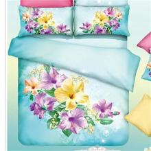 Yellow and Purple Flowers Bedding Set Queen King Size Bed Sheets Duvet Cover Pillowcase Cotton Fabric Floral Printed Bedclothes