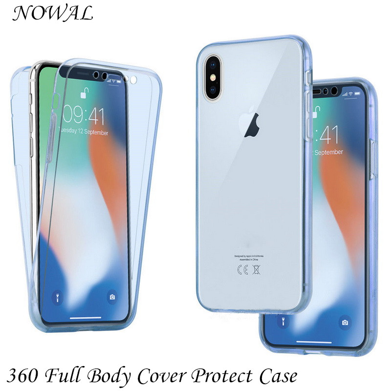 360 Full Body Cover Protect Iphone XS Max XR Transparent Soft Silicon Cases For Iphone X XS 7 8 6 6S Plus 5 5S SE