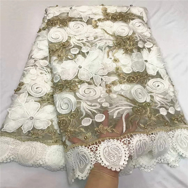 White french guipure cord lace fabric embroidery with beads african net lace fabric top quality Nigerian lace for wedding ZQ17-4