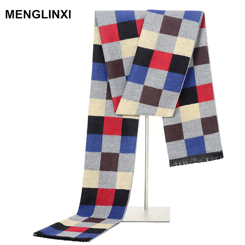 MENGLINXI Marque De Luxe Écharpe D hiver Hommes Cachemire Plaid Écharpe  Hommes Design De Mode 1659ba005ca
