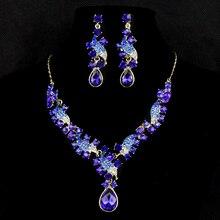 2015 Moda De Moda Collares Colgantes 6 Collar Largo Oro Rhinestoen Cadena de Eslabones de color Declaración Collar Joyería de Las Mujeres