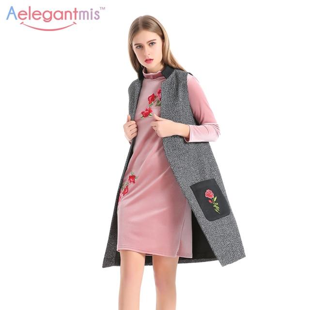 Aelegantmis Mode Fleurs Broderie Gilet Femmes Élégant Gris Faux Laine Gilet  Dames Long Gilet Cardigan Sans 9a7785c58e03